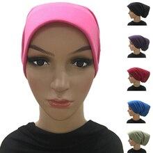 Le Donne musulmane Cotone Cofano Underscarf Cappuccio Interno Testa Sciarpa del Hijab Copertura Sotto La Sciarpa Headwrap Pianura Morbido Niqab Caps Hijab Arabo