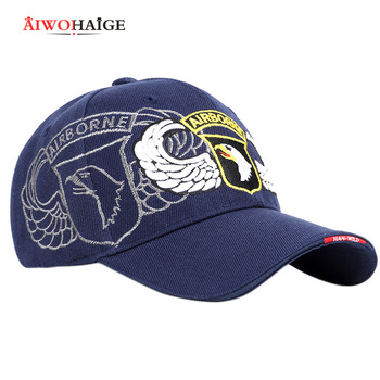 2019 New Eagle Embroidery 101 Airborne Division Baseball Cap Badge Casual Hat Spring Man Woman Cotton Adjustable Sport Bone