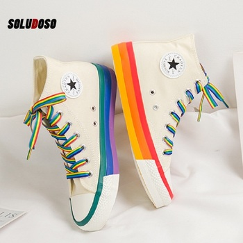 Fashion Women Sneakers Rainbow Bottom Shoes High Top Sneaker Canvas White 2020 Spring Summer Vulcanized