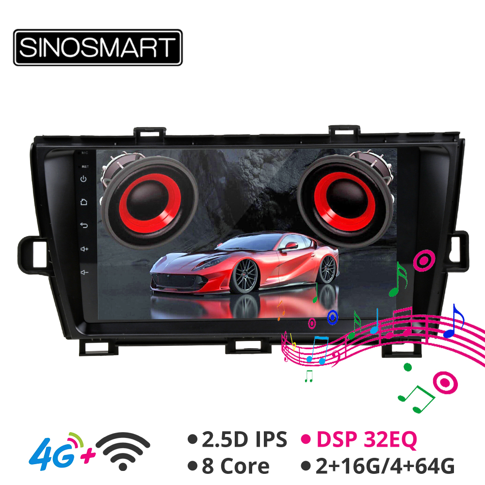 Sinosmart Android 8.1 Car For Toyota Prius 2009 2010 2011 2012 2013 GPS Navigation Radio 2din 2.5D IPS/QLED Screen