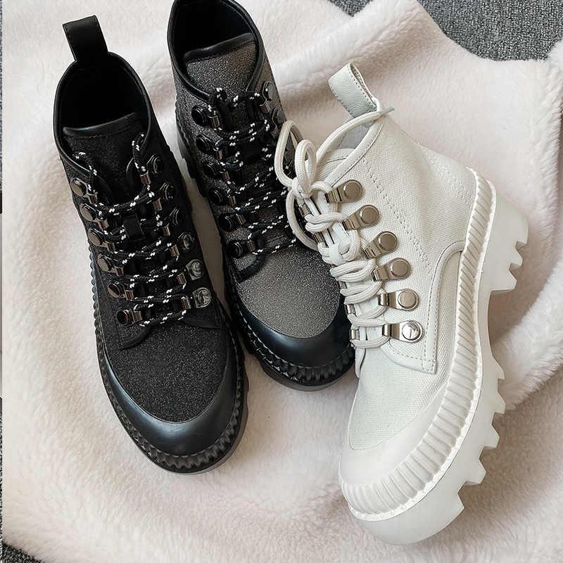 Donna-in hakiki deri düz platformu çizmeler kadın gotik Glitter şık kadınlar Flats kanvas ayakkabılar yuvarlak ayak sonbahar ayakkabı