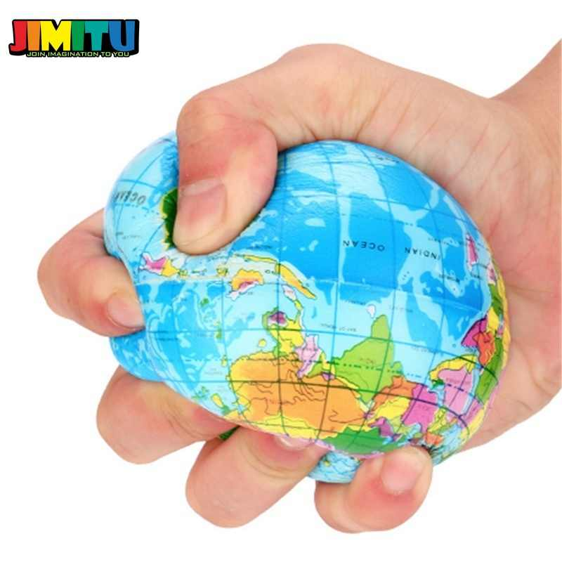 JIMITU Lustige 63mm Stress Relief Welt Karte Schaum Ball Atlas Globus Palm Squeeze Ball Planet Erde Lustige Anti-Stress-Ball
