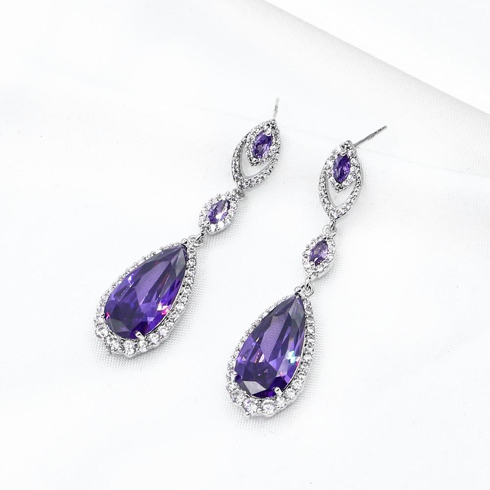 Russian Crystal Long Elegant Drop Earrings 2019 New Elegant and Exquisite Vintage Luxury Jewelry Women's Long Drop Earrings