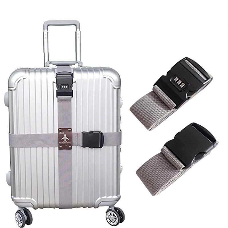 Newly Detachable Cross Travel Luggage Strap Packing Belts Suitcase Bag Security Straps With Lock CTN88