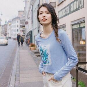 Image 4 - INMAN 2020 printemps nouveauté pur et frais col rond imprimé brodé coton à manches longues T shirt femme