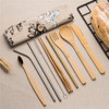 7/8/10pcs/set Reusable Bamboo Wooden Cutlery Set Fork Eco-Friendly Cutting Bag Office Worker Cooking Kitchen Tool Dinnerware Set 1