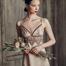 Sleepwear Silk Women Nightgowns & Sleepshirts Satin Gown 1363