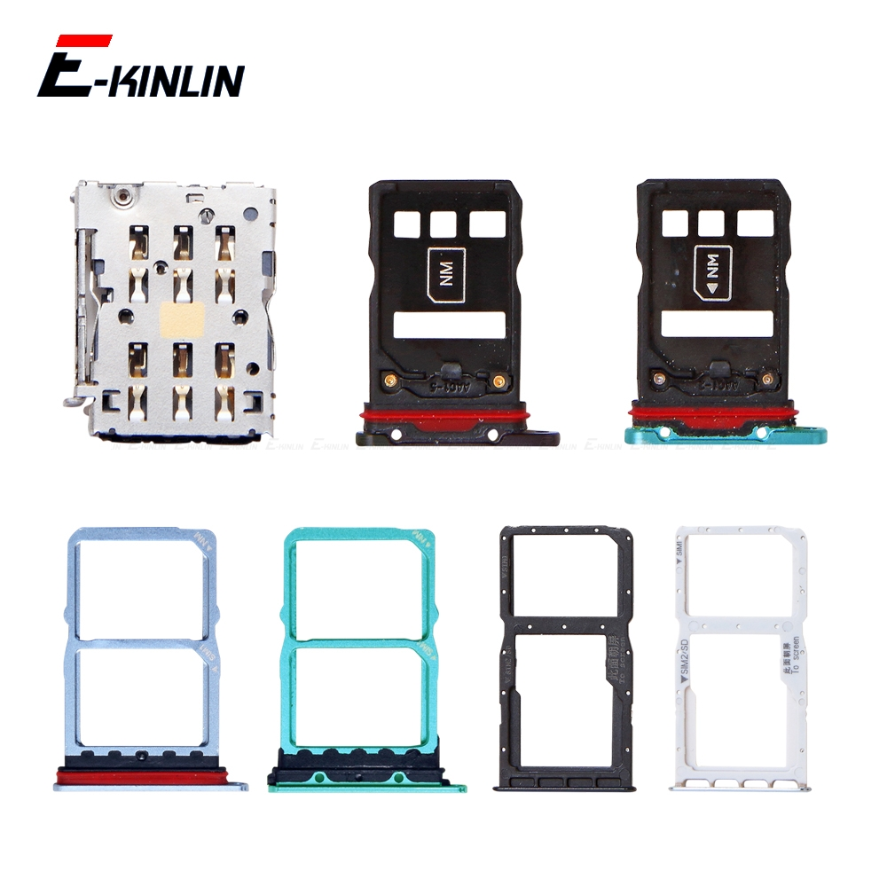 Micro SD / Sim Card Tray Socket Adapter For HuaWei P30 Pro Lite Connector Holder Slot Reader Container Parts