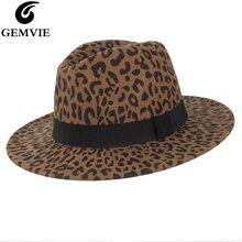 GEMVIE 2019 Wide Brim Leopard Wool Fedora Felt Hat For Women New Warm Winter Panama Jazz Cap With Band
