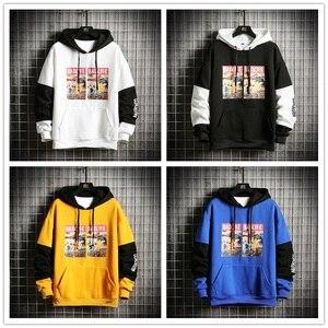 Image 4 - SingleRoad Mens Hoodies Men Winter Fleece Anime Printed Sweatshirt Male Hip Hop Japanese Streetwear Harajuku Yellow Hoodie Men
