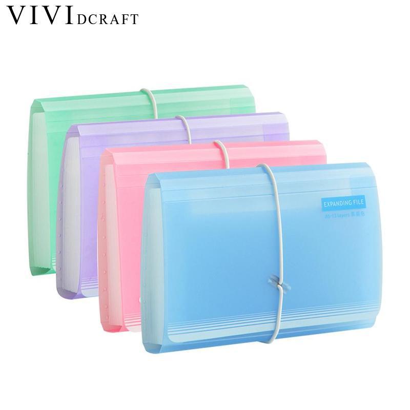 Vividcraft Cute Candy Color Transparent Multi-layer File Bag Mini Supplies Bag Shape Folder Bill Office Organ A6 Document S7I0