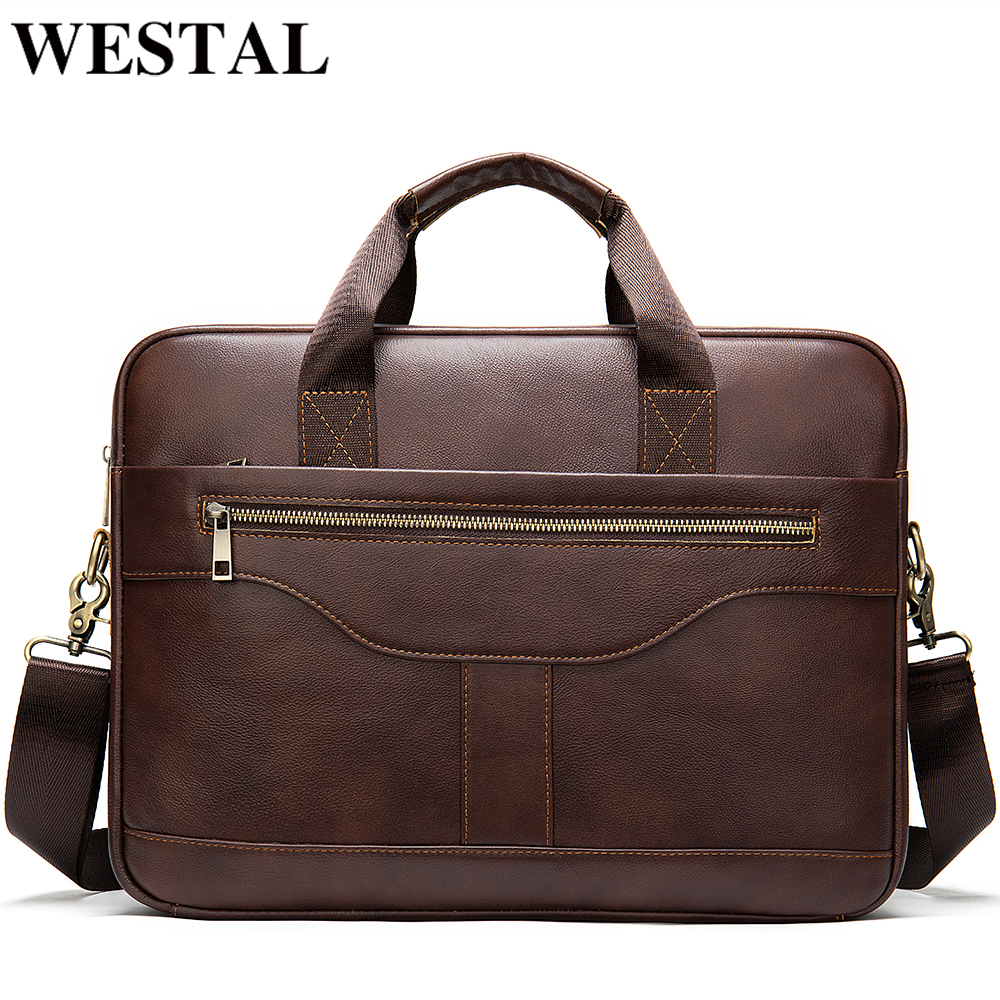 WESTAL Men's Briefcase Bag Men's Genuine Leather Office Bag For Men Porte Document Leather Laptop Bag Men Male Handbag Briefcase