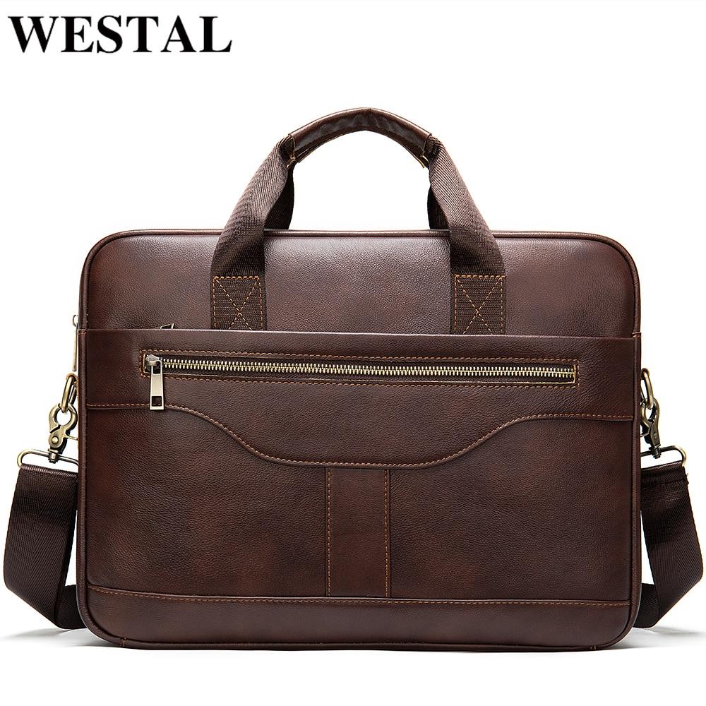 WESTAL Men's Briefcase Bag Men's Genuine Leather Office Bag For Men Porte Document Leather Laptop Bag Men Male Handbag Briefcase