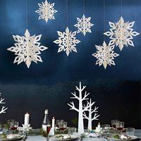 6 unids/set 3D de papel Artificial de copos de nieve de Navidad guirnalda Festival de artículos de fiesta de la línea Frozen blanco adornos navideños para el hogar