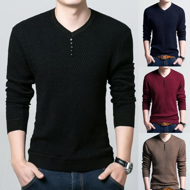 Men Long Sleeve Solid Color Buttons Decor Knitwear Plus Size Bottoming Sweater Men's Knitted Sweaters Pullover Men Knitwear 2020 1