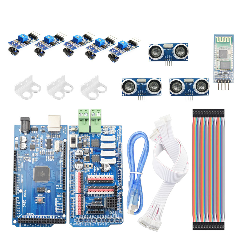 Bluetooth APP RC Arduino Smart Line-Tracking Obstacle Avoidance Mecanum Wheel Car Chassis Kit Line Patrol DIY Robot Parts Kit