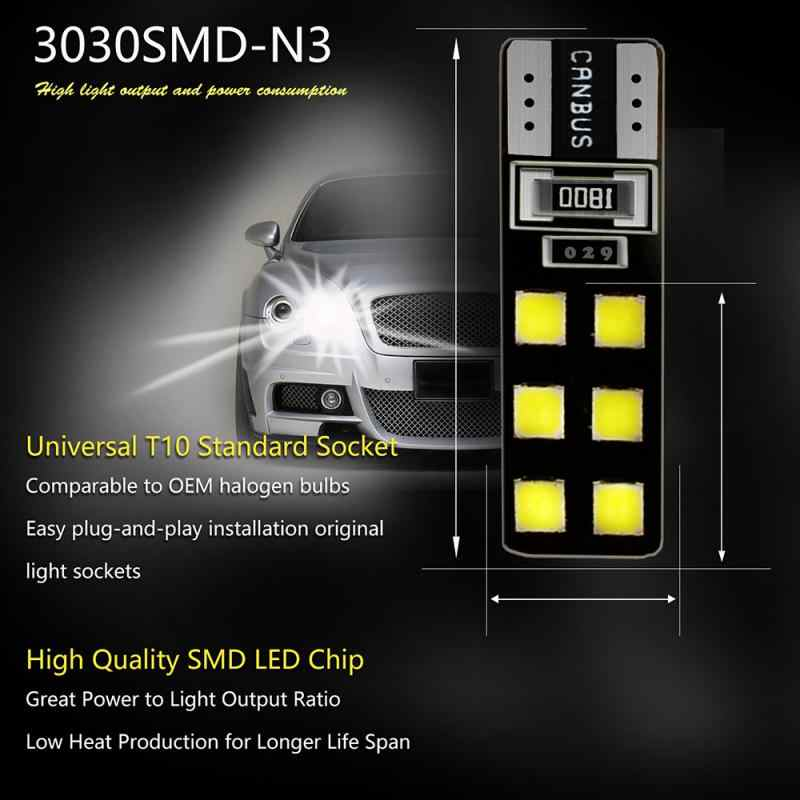 Canbus T10 5730 12SMD 6000K 슈퍼 밝은 LED 전구 라이센스 플레이트 조명 미터/읽기/너비/신호 램프 턴 사이드 라이트 TXTB1