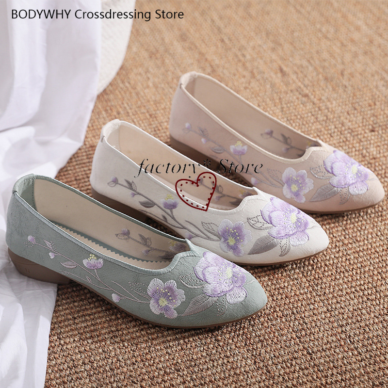 hanbok hanbok Shoes Dance Shoes Embroidered Shoes Female Antique Shoes Chunky-Heel tpr Female Vintage Single