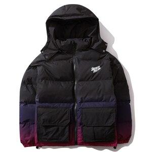 Image 3 - Aelfric Eden Hip Hop Gradient Removable Mens Hooded Parkas Casual Warm Padded Jacket Coats 2019 Harajuku Windbreaker Streetwear