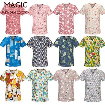 Scrubs Tops 17 Color V-Neck Pet Beauty Salon Uniform Nursing Shirt Print Scrub Tops 100%Cotton Pharmacy Work Wear Clothes