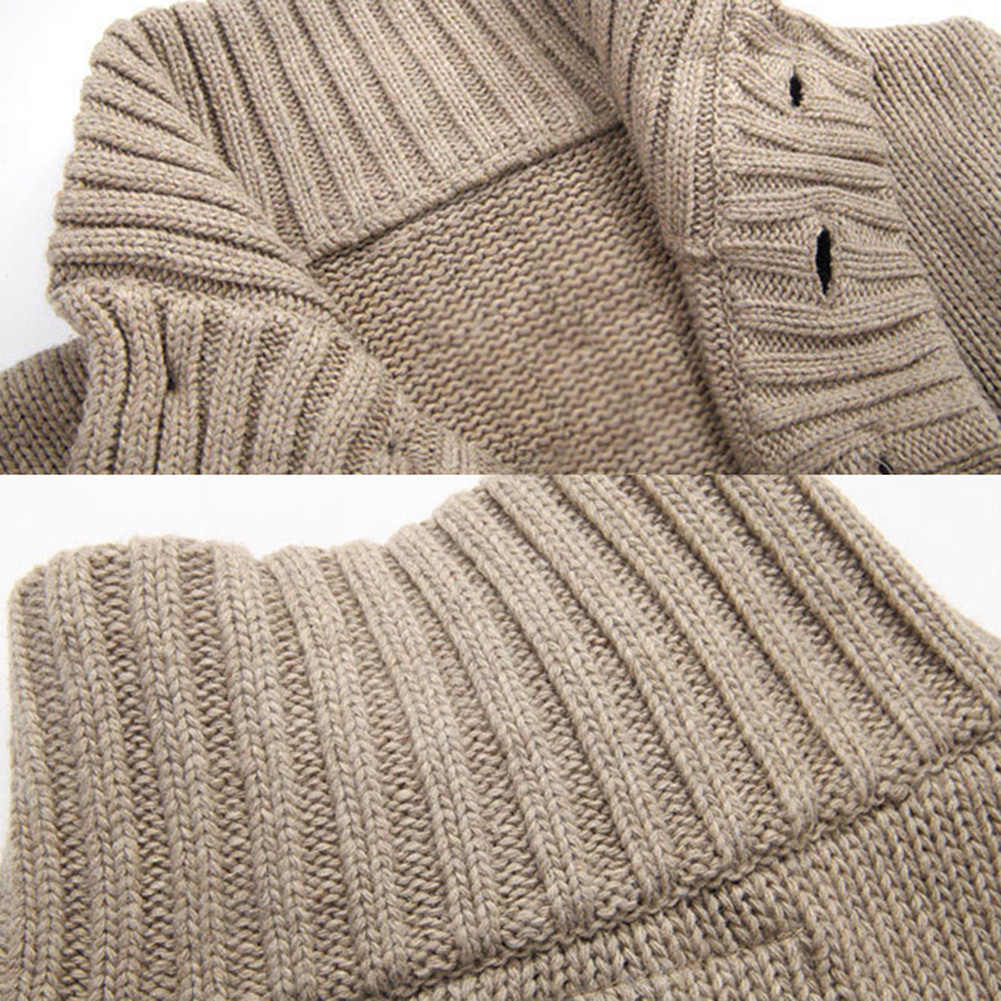 가을 겨울 스웨터 남성 카디건 스웨터 두꺼운 따뜻한 코트 스탠드 칼라 버튼 업 포켓 니트 스웨터 망 카디건