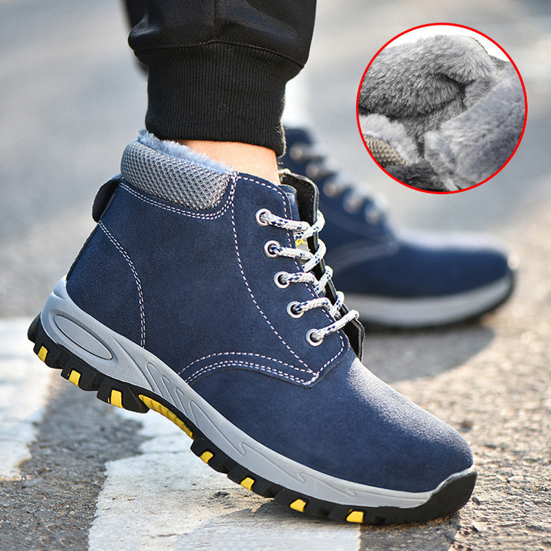 Winter Work Safety Boot Plush Warm Winter Shoes Men Boots Steel Toe Safety Shoes Male Shoes Indestructible Shoes Boots Men 39 S