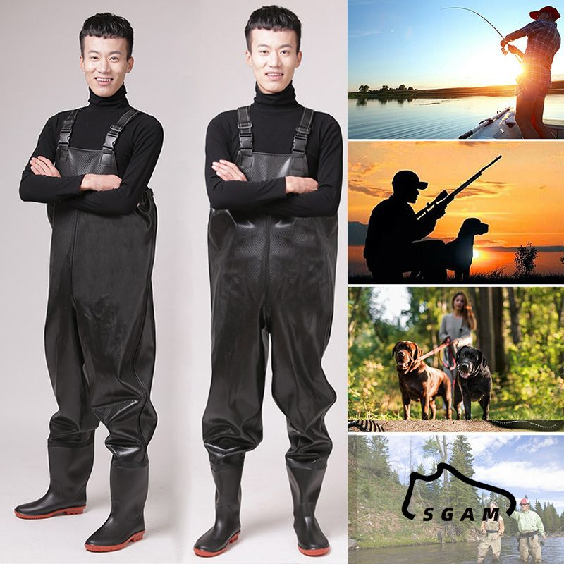 SGAM Mens Black PVC Portable Chest Overalls Wading Pants Overalls Waders Waterproof Boot Fishing Hunting 39-47 Sizes