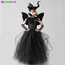 Maleficent mal rainha meninas traje de halloween crianças gótico preto glam vestido tutu crianças carnaval cosplay vilão roupas