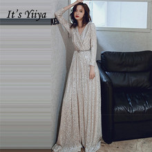 Long Sleeves Evening Gown Its Yiiya K027 V-Neck A-line Pleat Evening D