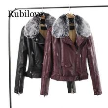 Rubilove 2019 Women Winter Warm Faux Leather Jackets with Fur Collar Lady White Black Wine Red Motorcycle Biker Outerwear C