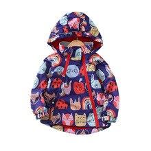 Warm Fleece Hooded Baby Girls Jackets Fashion Waterproof Child Coat Cartoon Print Children Outerwear Kids Outfits For 90-150cm цены