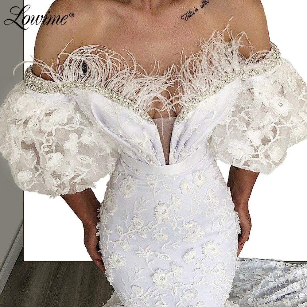 Off The Shoulder White Mermaid Evening Dresses 2020 Robe De Soiree Dubai Formal Kaftans Couture Arabic Party Dress Prom Gowns