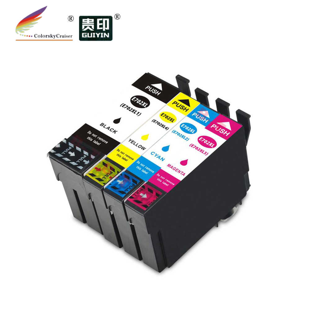 T702XL 702XL 702 XL Inkjet Cartridge Kompatibel Baru Tinta untuk Epson WorkForce Pro WF-3720 WF-3730 WF-3733 Bkcmy (4 pack)