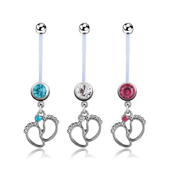 1Pcs Women Maternity Baby Feet Navel Belly Button Rings Fashion Surgical Steel Dangle In Piercings Body Jewelry 3 Colors 2