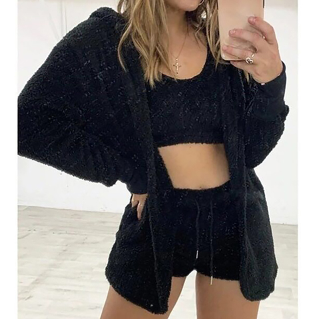 Three Piece Sexy Fluffy Outfits Plush Velvet Hooded Cardigan Coat+Shorts+Crop Top Women Tracksuit Sets Casual Sports Sweatshirt 4