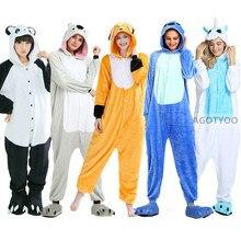 Adulto coala gato tubarão raposa pijamas mulheres homens flanela macacão homewear festa de halloween urso panda onesie traje