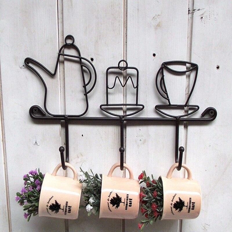 Offre spéciale créative fer crochet jardin décoration de la maison dessin animé tasse forme chapeau Rack vêtements cintre noir mode fer oreille fermoir 1 pièces - 4