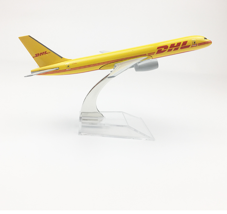 <font><b>1</b></font>/400 Scale 16cm Air Plane <font><b>Model</b></font> DHL Express Boeing B757-<font><b>200</b></font> Diecast Aircraft Airliners Children Collections Boys Gift Toy image