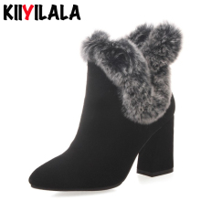 Kiiyilala Cow Suede Zip Snow Boots Women Booties Natural Fur Square Heels Pointed Toe Warm Plush Woman Ankle Boots Winter Shoes
