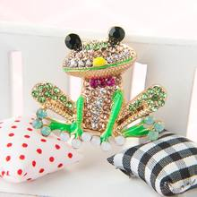 Cute Frog Shape Brooch Shiny Rhinestone Brooch Collar Pin Colorful Mini Pins Badge Women Girls Party Banquet Jewelry Gift(China)