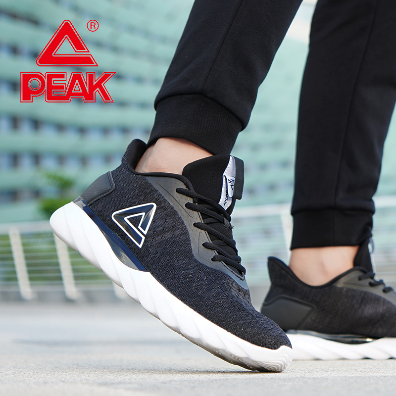 PEAK Men Running Shoes Breathable Mesh Lightweight Sneakers Cushion Flexible Durable Outdoor Sports Shoes Athletic Footwear