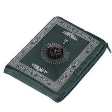 Wodoodporny przenośny muzułmański dywan modlitewny z kompasem wzór vintage kieszonkowy dywanik modlitewny islamski dekoracja Eid prezent na zamek błyskawiczny