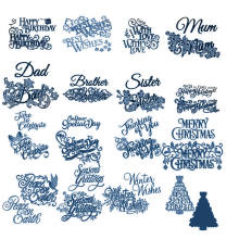 Best WishesMerry ChristmasWords Metal Cutting Dies Scrapbooking Album Paper DIY Card decoration Craft Embossing Cut