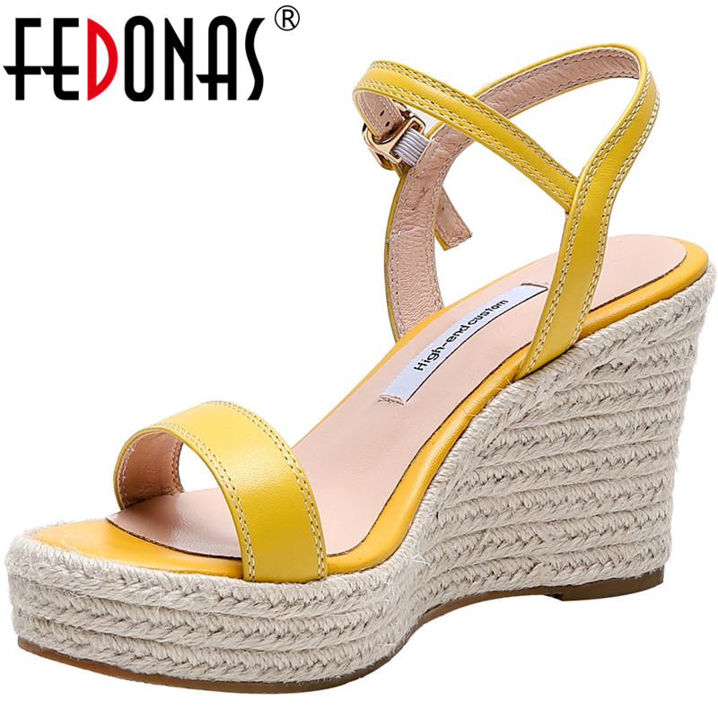 FEDONAS Slip On Summer Women Sandals Wedge High Heels Open Toe Cow Genuine Leather Shoes Elegant New Arrival 2020 Shoes Woman
