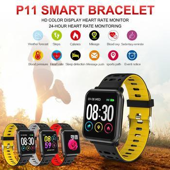 P11 Heart Rate Blood Pressure Sports BluetoothIP67  Wristband   Waterproof FitnessTracker Smart Bracelet Reloj Inteligente