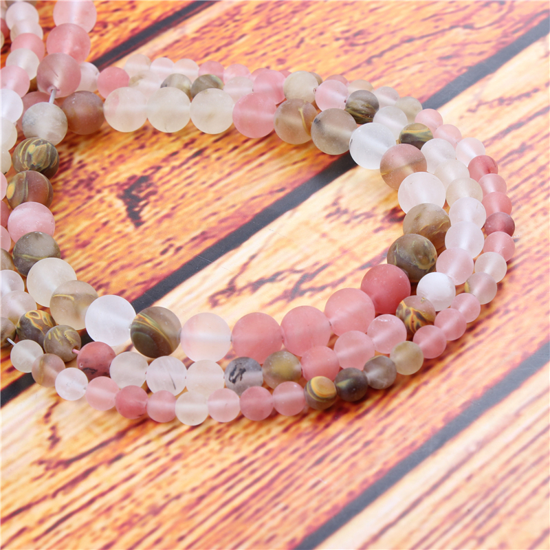 Frosted Watermelon Natural Stone Bead Round Loose Spaced Beads 15 Inch Strand 4/6/8/10/12mm For Jewelry Making DIY Bracelet