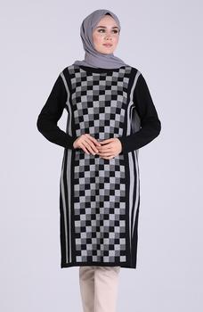 Minahill czarna tunika moda muzułmańska islamska odzież skromna topy arabska odzież długa tunika dla kobiet 1102-06 tanie i dobre opinie TR (pochodzenie) tops Aplikacje Bluzki i koszule Octan Dla dorosłych