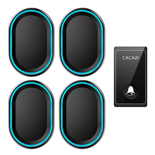 CACAZI Self-powered Wireless Doorbell No Battery Required 1 Button 4 Receiver US EU UK Plug LED Smart Home Call Bell Button 220V cacazi self powered wireless doorbell no battery us eu uk au plug 2 button 5 receiver smart home chime doorbell ring bell 220v
