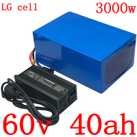 Free customs tax 60V1500W 2000W 3000W scooter battery 60V 40AH Lithium ion battery 60V 40AH electric bicycle battery use LG cell