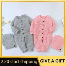 Детские вязаные комбинезоны зимняя одежда с шапкой свитер длинными